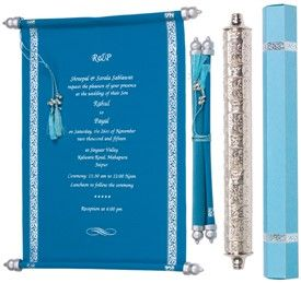 S947, Blue Color, Exclusive Invitations, Scroll Invitations