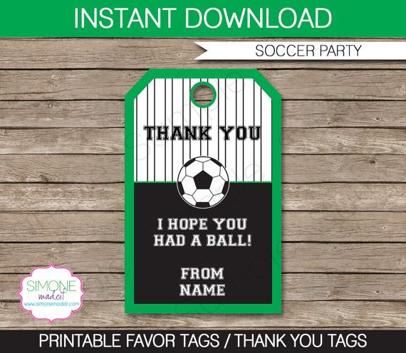 Soccer Party Favor Tag or Thank You Tag - INSTANT DOWNLOAD and EDITABLE template - type your own text in Adobe Reader on Etsy, $3.50