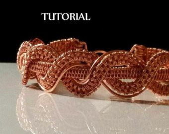 This Open Wire Weave Bracelet Tutorial includes 14 pages of step-by-step instructions as well as numerous clear, close-up photos.  It has been written for crafters who have limited basic wire weaving knowledge, though, the instructions are very in-depth. The tools needed are:  18 gauge round copper wire 28 gauge round coppery wire Flush/Wire Cutters Round Nose Pliers Eye Protection Optional: Bracelet Mandrel
