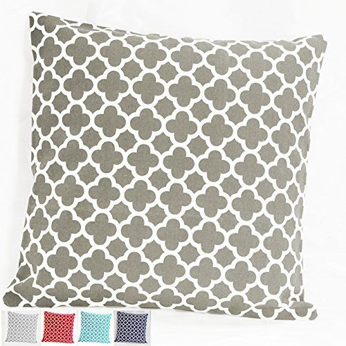 TAOSON Dark Grey Gray Moroccan Quatrefoil Accent Pattern Cushion Cover Pillow Pillowcase Cotton Canvas