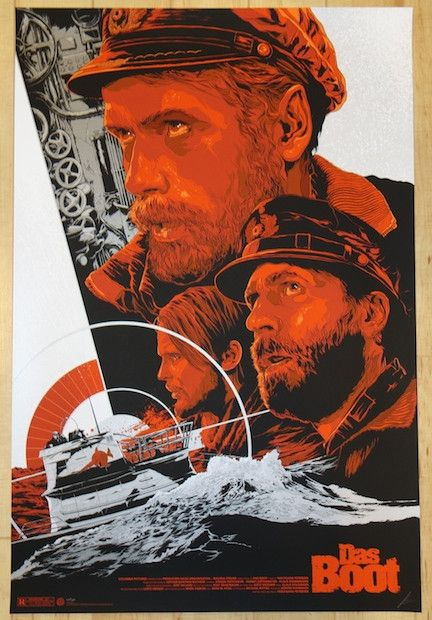 """Das Boot - silkscreen movie poster (click image for more detail) Artist: Ken Taylor Venue: N/A Location: N/A Date: 2014 Edition: 350; signed and numbered Size: 24"""" x 36"""" Condition: Mint Notes: this si"""