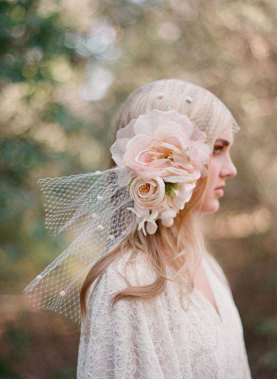 Bridal bandeau veil silk flower headpiece  Silk flower par myrakim, $225.00