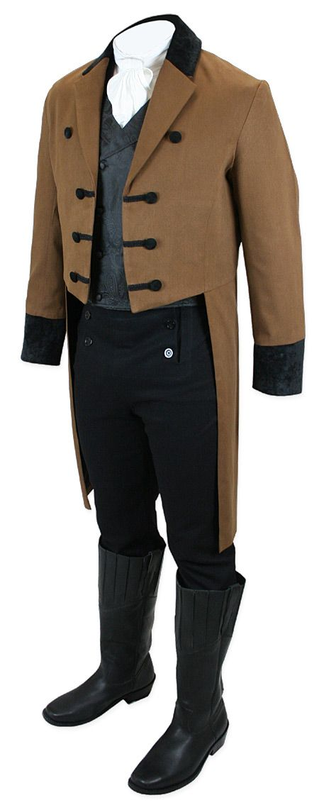 1800s Mens Brown Cotton,Velvet Solid Peak Collar Tail Coat | 19th Century | Historical | Period Clothing | Theatrical || Sovereign Regency Tailcoat - Brown