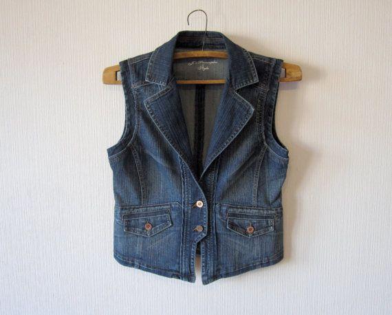 Blue Denim Waistcoat Women Metal Button Romantic Fitted Extra Large Size Vest