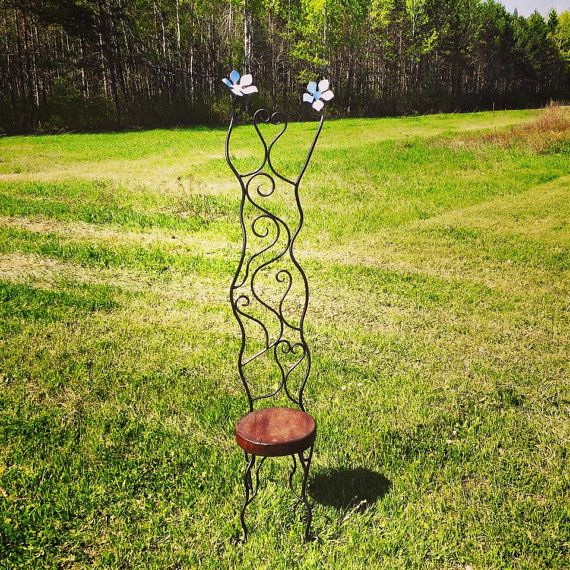 Wrought Iron Garden Chair Metal Art By