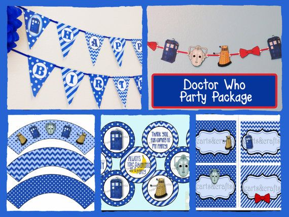 Doctor Who Printable Birthday Party PACKAGE - Banner, Garland, Cupcake Toppers, Wrappers, Table Tents on Etsy, $28.50