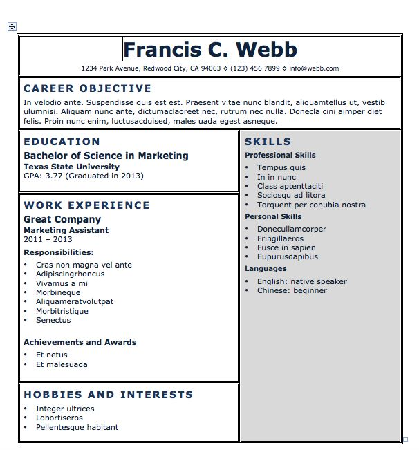 53 best resumes images on Pinterest Microsoft word, Resume - free resume microsoft word templates