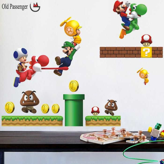 Marvelous Old Passenger new pvc Super Mario Bros Wall Sticker Home Decor For Kids Room baby