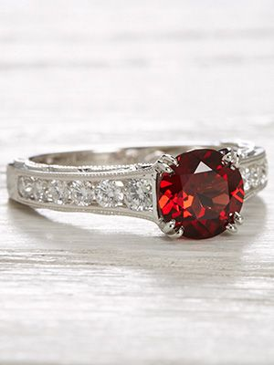Vintage Style Engagement Ring with Almandine Garnet  | Diamond accents cool the fiery blaze of this vintage style engagement ring's almandine garnet, RG-3625 | Topazery Jewelry