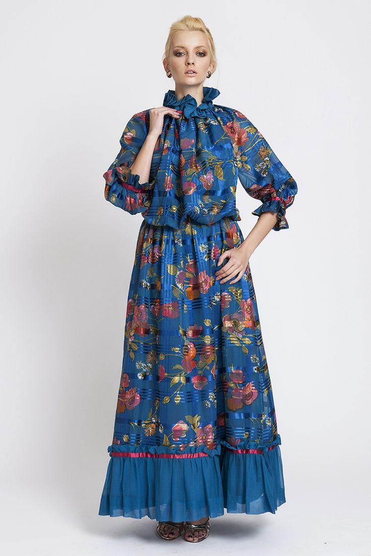 70′ler Şifon Üstüne Renkli Çiçekli Uzun Elbise | AU Vintage
