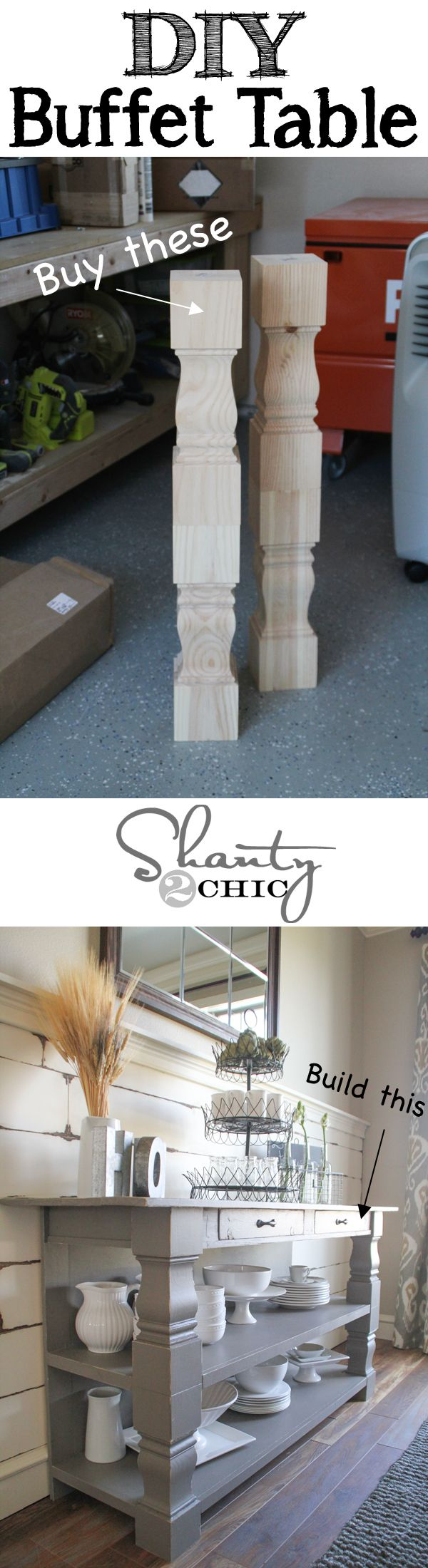 FREE and Easy DIY Furniture Project Plan from Shanty2Chic: Learn How to Build a Buffet Table // Shanty-2-Chic.com