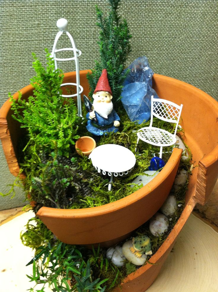Into gnomes? Make a home for a gnome to give! Directions at- http://thegardendiaries.wordpress.com/2013/03/01/broken-pot-garden-home-for-a-gnome/