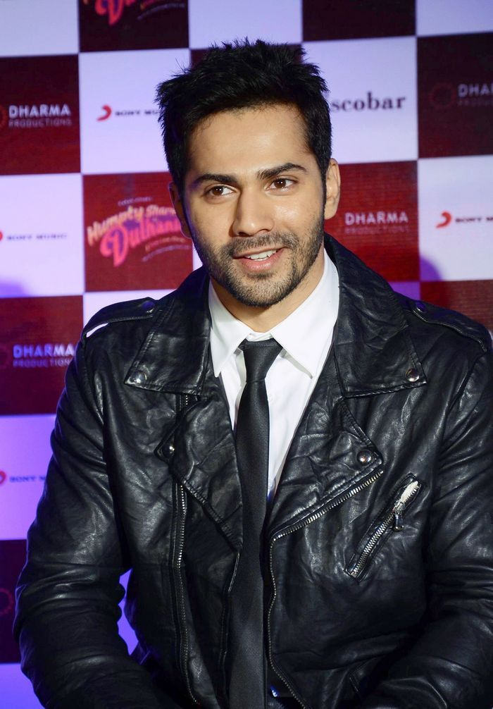 Varun Dhawan looking dapper in a leather jacket over a shirt and tie at Samjhawan song launch #Style #Bollywood #Fashion #Handsome
