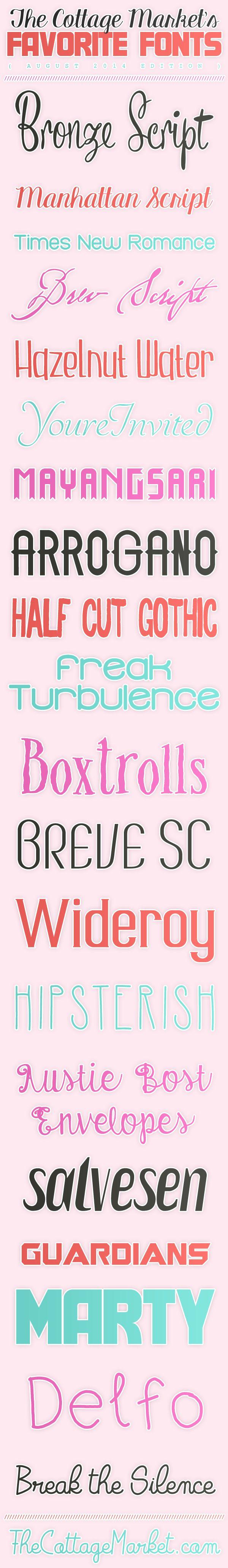 Free Fonts The Cottage Market August 2014 Favorites - The Cottage Market #FreeFonts, #FreeFontCollection, #FunFreeFonts