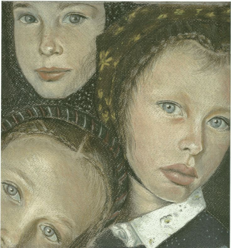 Portrait Drawing - The Amish girls, soft pastels 1992
