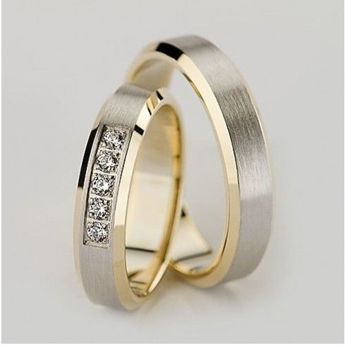 Two Tone 10k Yellow-white-yellow Gold Satin Flat Baveled His And Her Wedding Rings 0.15 Ctw Round Diamond 5.5mm 02312