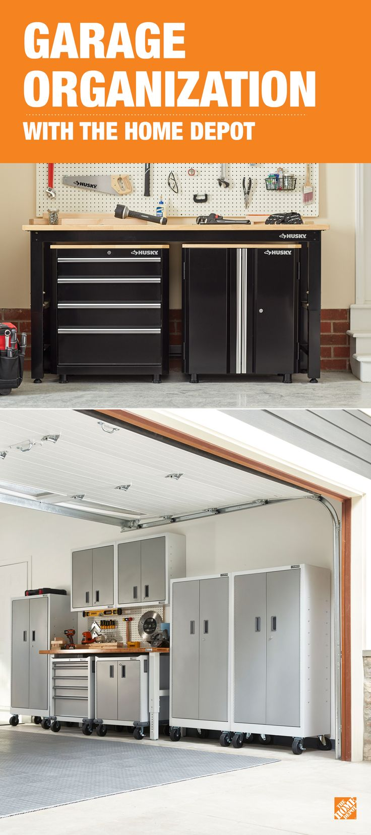When you're shopping for a garage storage solution for your tools and supplies, choose something durable and versatile. The Husky steel garage cabinet set you see above, and the Gladiator system below are two examples you can find at The Home Depot. Click to explore all our garage storage solutions.