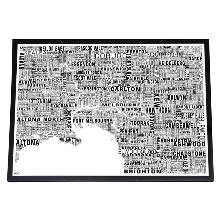 Framed Melbourne Type Map Print