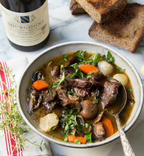 Boeuf Bourguignon: To quote Julia Child, this dish is one of the most delicious beef stews concocted by man. Truth.