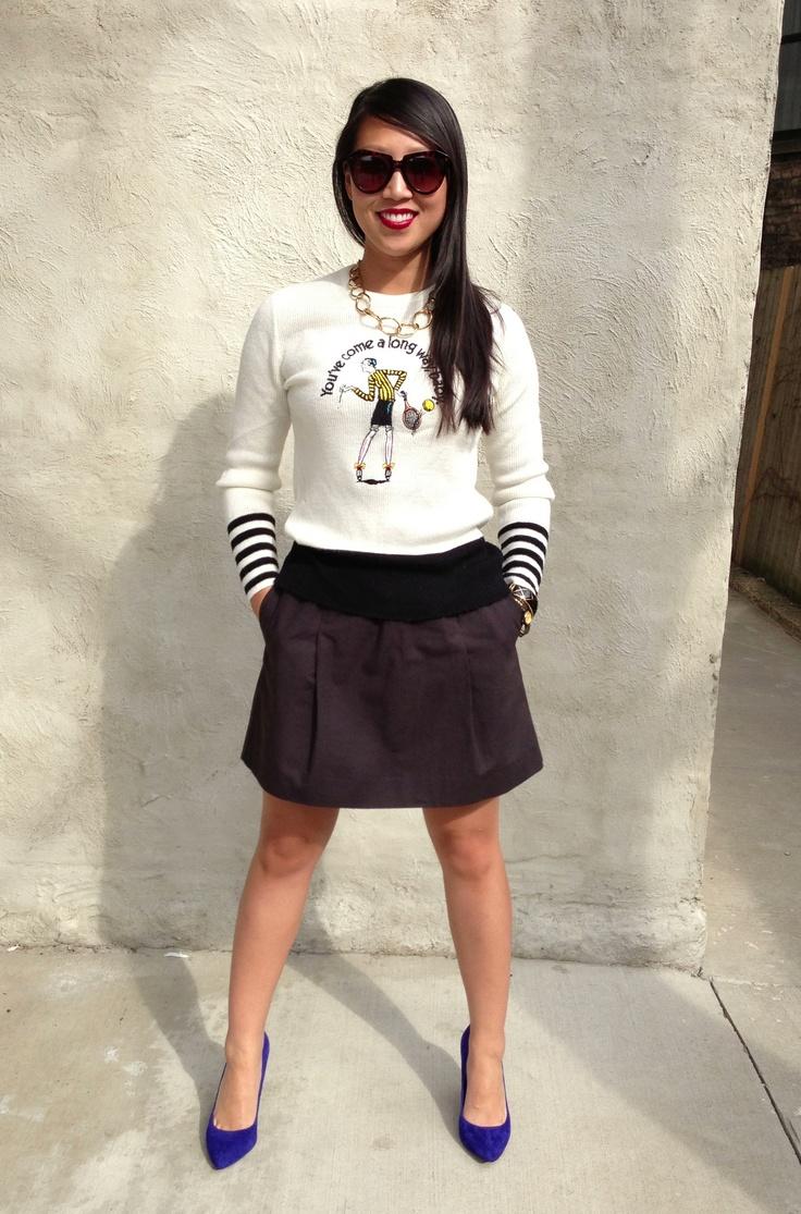 vintage virginia slims sweater / j crew black skater skirt / etienne aligner chunky chain - want it? email us at thehuntshopscoop@gmail.com