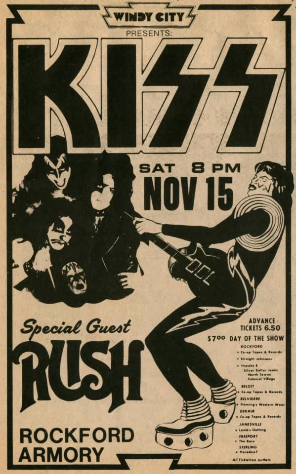 KISS- The Early Days : Concert Poster with Rush.