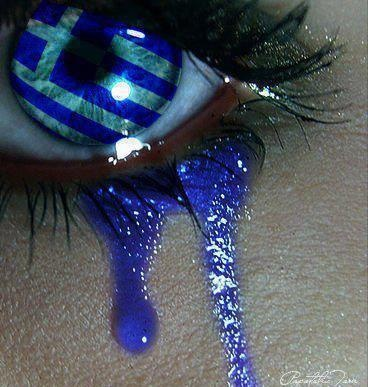 Striped Blue & Grey Eye with Blue Tears