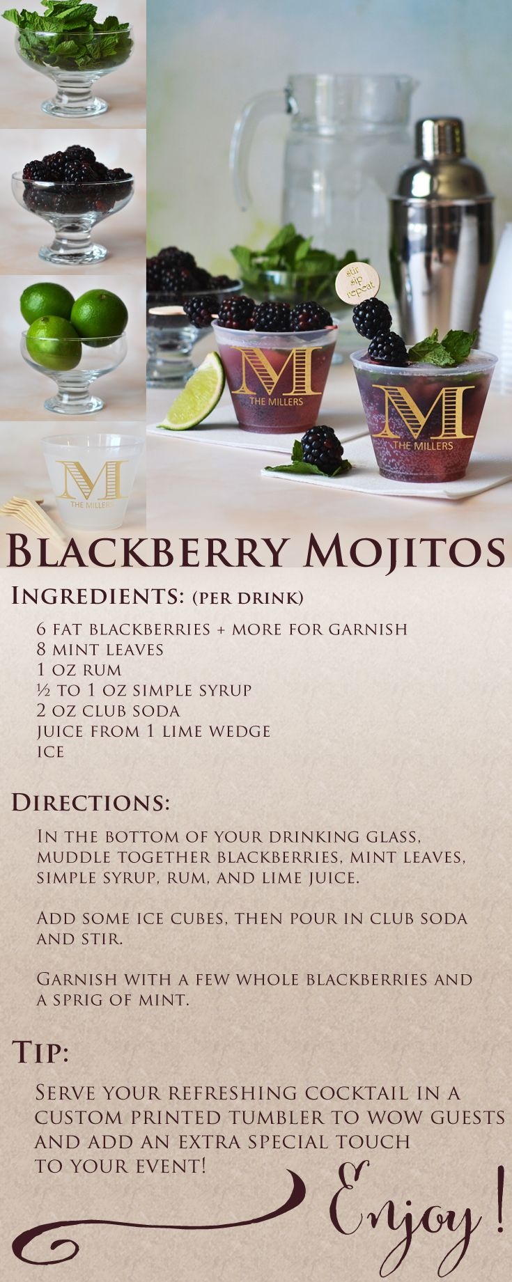 This blackberry Mojito recipe is a refreshing and colorful alcoholic beverage guests will love. Stock your wedding reception bar with fresh ingredients listed. Serve your wedding cocktails in frosted 9 ounce cups personalized with a monogram or wedding design, the bride and groom's name and wedding date to wow guests and add an extra special touch to your wedding celebration. These personalized cups can be ordered at…