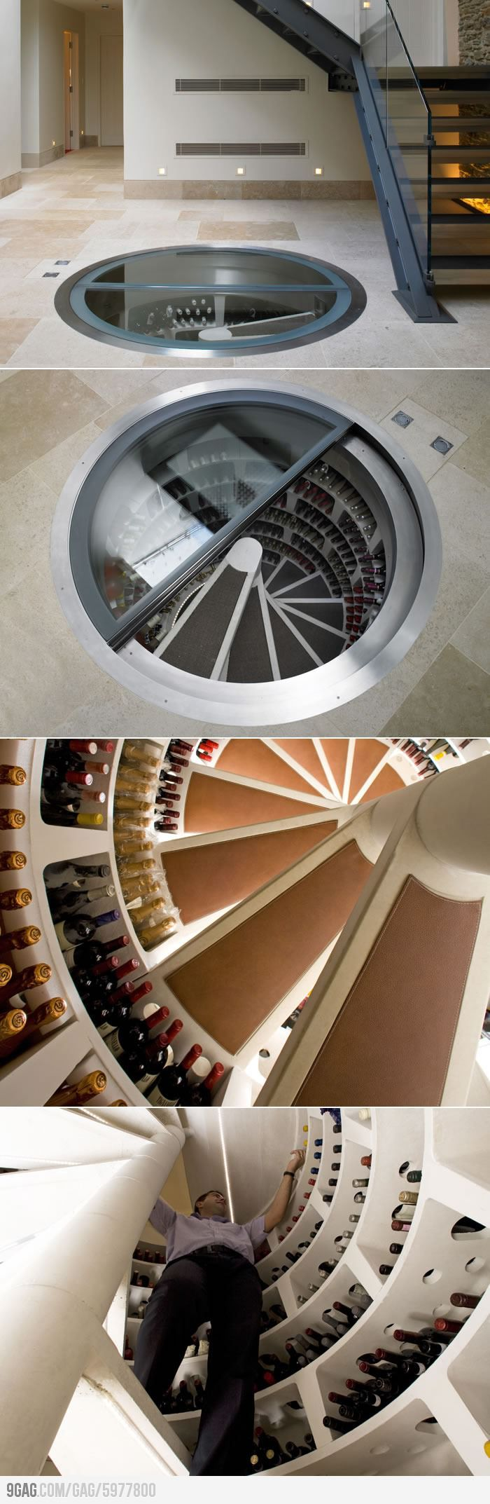 Spiral Wine Cellar... Amazing architectural design and I just love the clean lines... #splendid