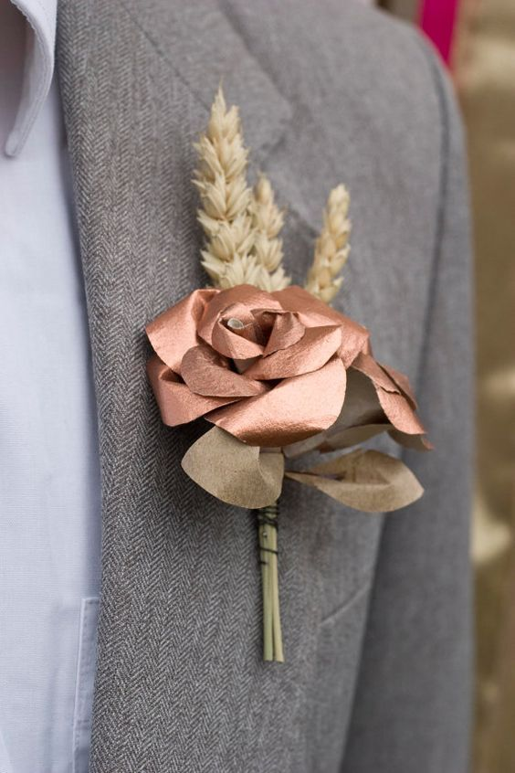 copper and wheat buttonhole / http://www.himisspuff.com/rose-gold-metallic-wedding-color-ideas/7/