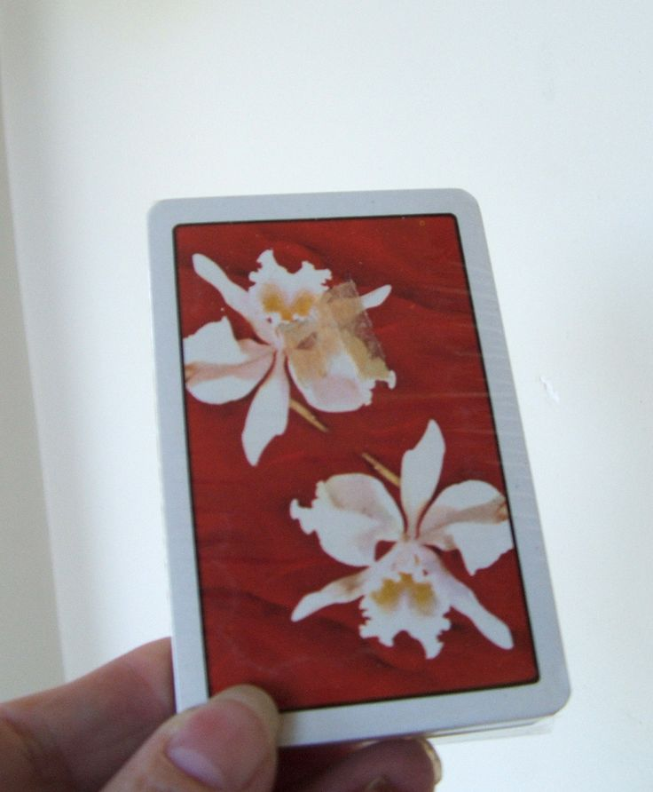 Vintage Deck of Playing Cards ORCHIDS Made in British Hong Kong by lookonmytreasures on Etsy