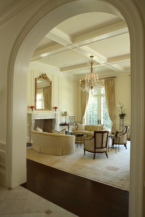 love the coffered ceiling in this traditional living room by christy dillard kratzer for my family room not too deep