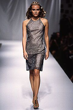 Elspeth Gibson | Spring 2000 Ready-to-Wear | 03 Grey embellished halter midi dress