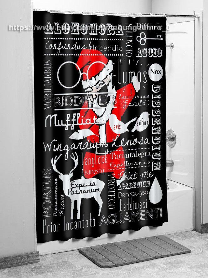 "New Exclusive Harry Potter Spells Santa Christmas Shower Curtain 60""x72"" | eBay"
