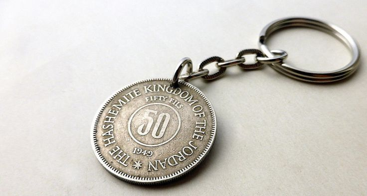 Jordanian, Keychain, Men's gift, Middle East, Men's accessory, Coin keychain, Arabian, Gift for him, Wallet accessory, Guys gift, Coin, 1949 by CoinStories on Etsy