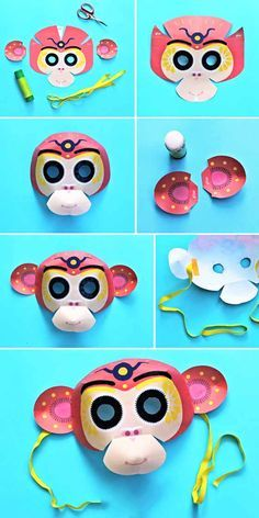 Instructions to make a Chinese New Year monkey mask!