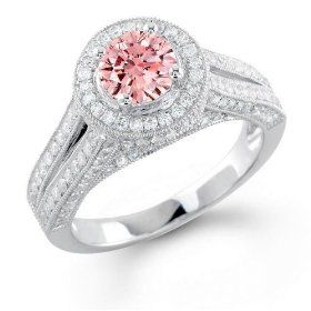 Round pink round pink diamond wedding rings Chicago | The Wedding Specialists