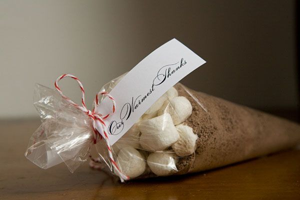 Hot chocolate wedding favors...brown cocoa and white marshmallows give it a rustic look