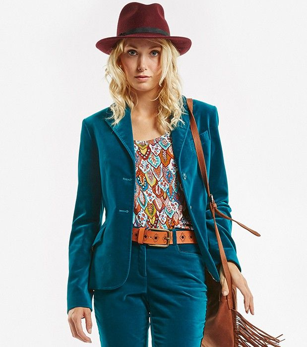 Veste femme bleu marine marron
