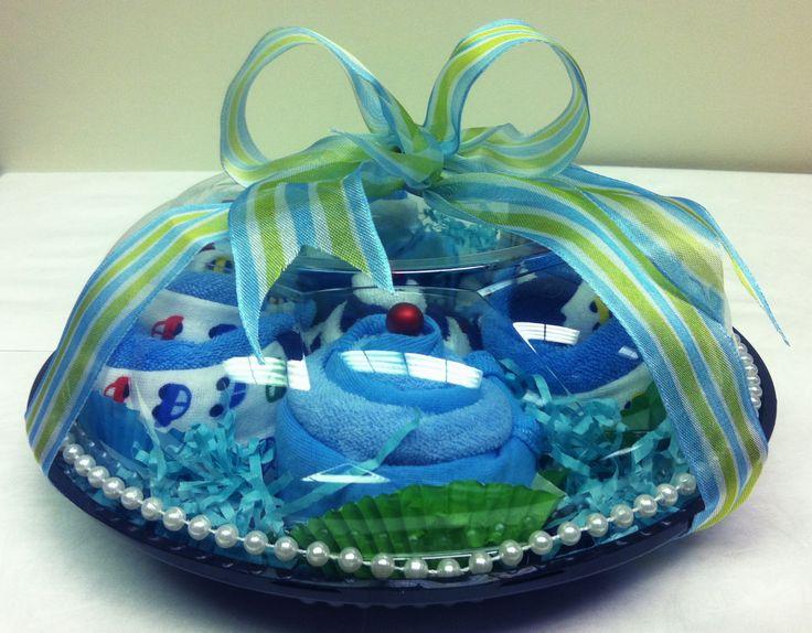 Baby Gift Idea Onesies/washcloths cupcakes