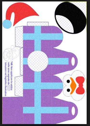 PINGUINO scatolina da sabbiarellere e costruire per album sabbiarelli line christmas baby- by irene mazza