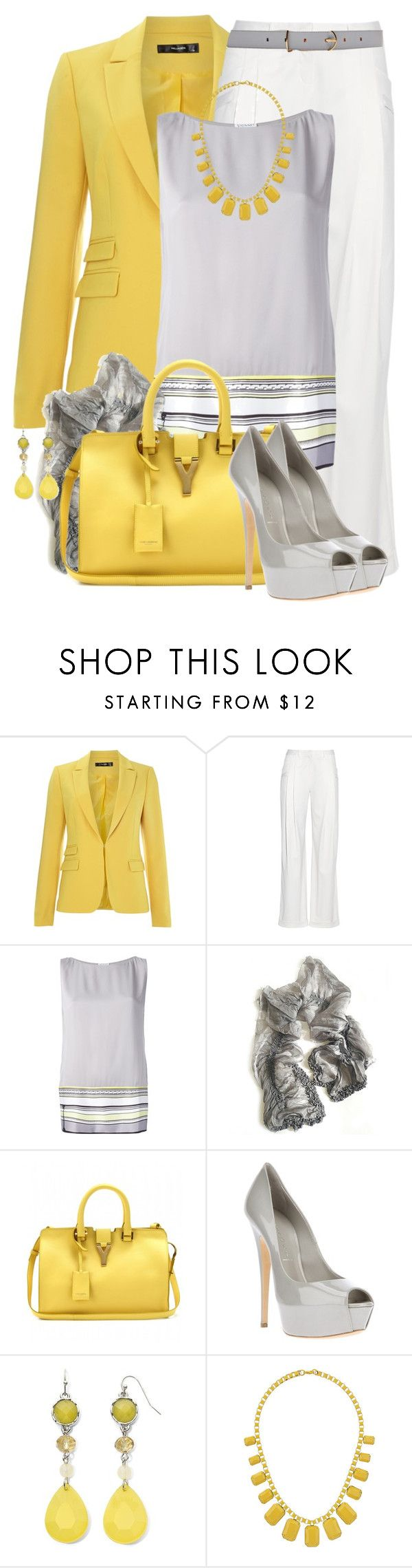 """""""Yellow & Gray"""" by brendariley-1 ❤ liked on Polyvore featuring Hallhuber, Balmain, Vionnet, Yuh Okano, Yves Saint Laurent, Casadei, Mixit, Topshop and Maison Boinet"""