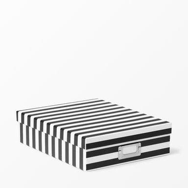 Förvaringsbox randig, svart