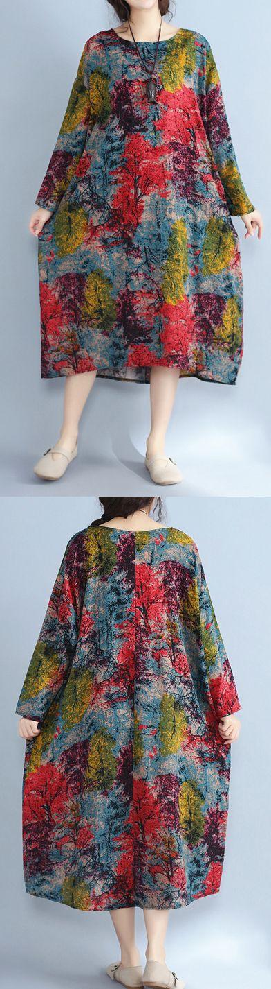 baggy multi color natural linen dress plus size prints gown Fine o neck  caftans