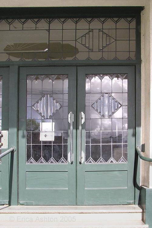 Lobethal cinema art deco entry doors Art Deco. Adelaide Hills, South Australia.
