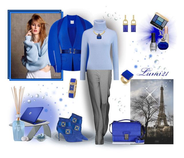 blue by lumi-21 on Polyvore featuring N.Peal, Dion Lee, Manolo Blahnik, 3.1 Phillip Lim, Erickson Beamon, Rachel Zoe, Trina Turk, Bulova, Guerlain and Paul & Joe