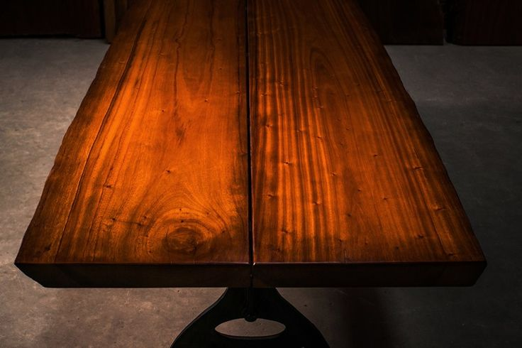 Dining table suitable for 6-8 people 1m average width x 2.36m length. This rare wood is from a fresh water lake in Panama, submerged underwater for decades. Finished in a NC special coating system and antique wax polish. We are able to interchange species in this type of design concept. Price is $4500 including our custom designed bases in wood or our cast iron collections.