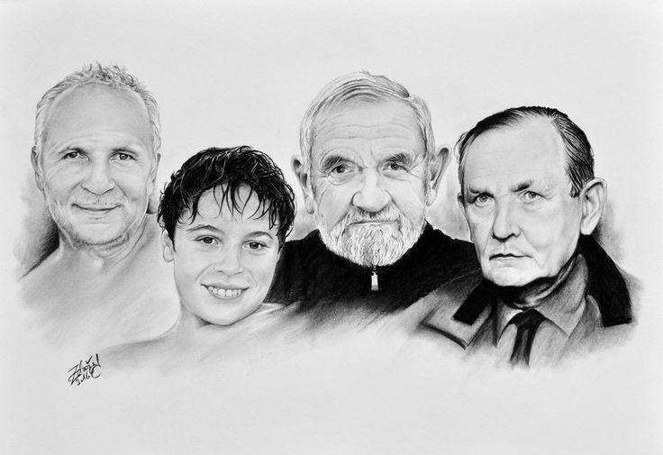 Charcoal - kresba uhlem - muži #man #charcoal #pitt #portrait #family