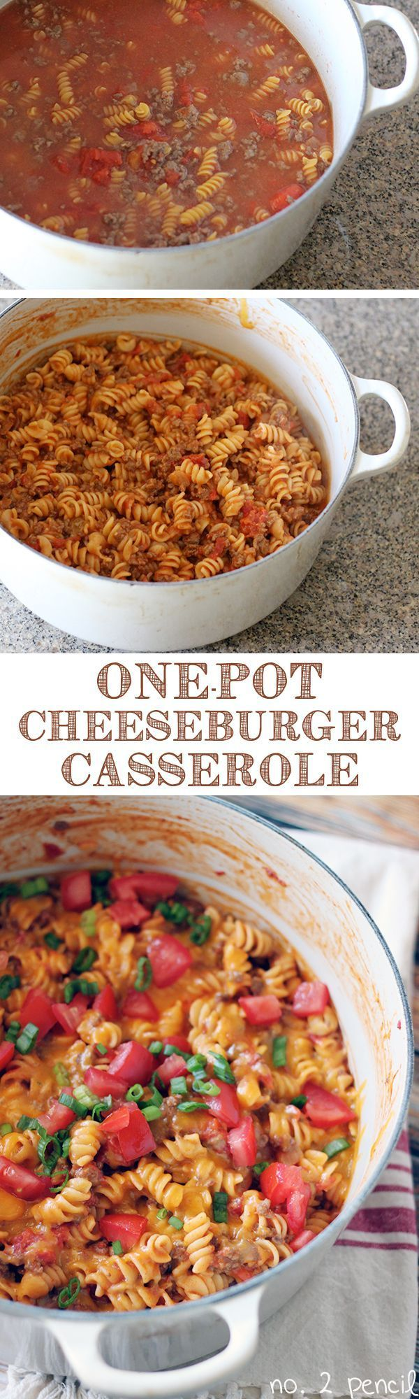 Easy dinner recipes? This One-Pot Cheeseburger Casserole is a quick and tasty casserole that's perfect for dinner! If your family likes spaghetti and sloppy joes, they will love cheeseburger casserole! For more easy food recipes, creative craft ideas, eas