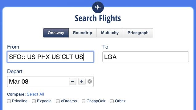 Google's ITA Matrix is the power user's tool of choice to find flights, including cheap first-class fares and multi-city connections, but you can't book directly on the site. You can, however, use ITA Matrix codes on Hipmunk, another one of our favorite travel booking sites.