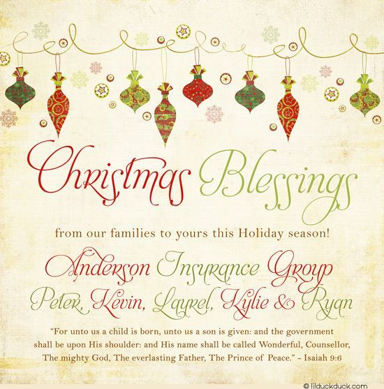 christmas card greetings business sayings merry ornaments photo
